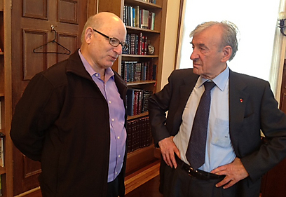 Elie Wiesel, right, in his office at Boston University with his Israeli editor, Joel Rappel, whose interview with the famous survivor was published on January 28th in Israel's Y-Net News.