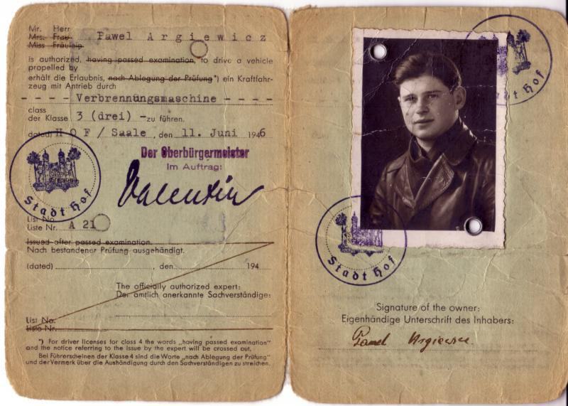 German Drivers License awarded to Paul Angiewicz in 1946 ... for good behavior?