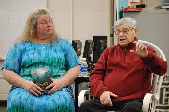 """Deanne Joseph Ebner (left) who wrote the book """"Number 176520: The Story of Paul Argiewicz """"A Teenage Holocaust Survivor"""" appeared with Argiewicz in 2012 at Riverview School."""