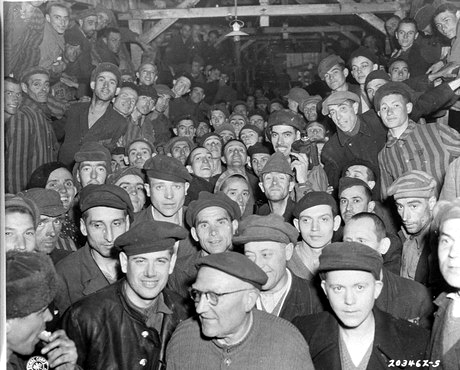 """""""Starving"""" Buchenwald prisoners at liberation. They sure look well-fed to me."""