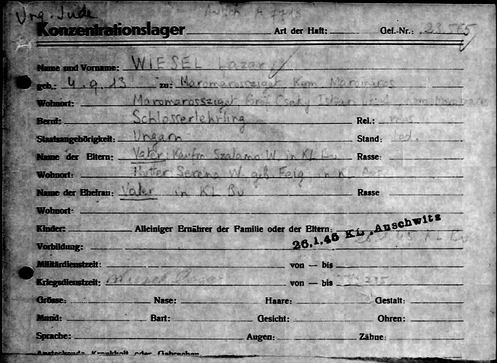 The Buchenwald file card that shows Lazar Wiesel, born 9-4-1913, occupation Locksmith, A-B prisoner number A-7713, arrived in a transport from Auschwitz.