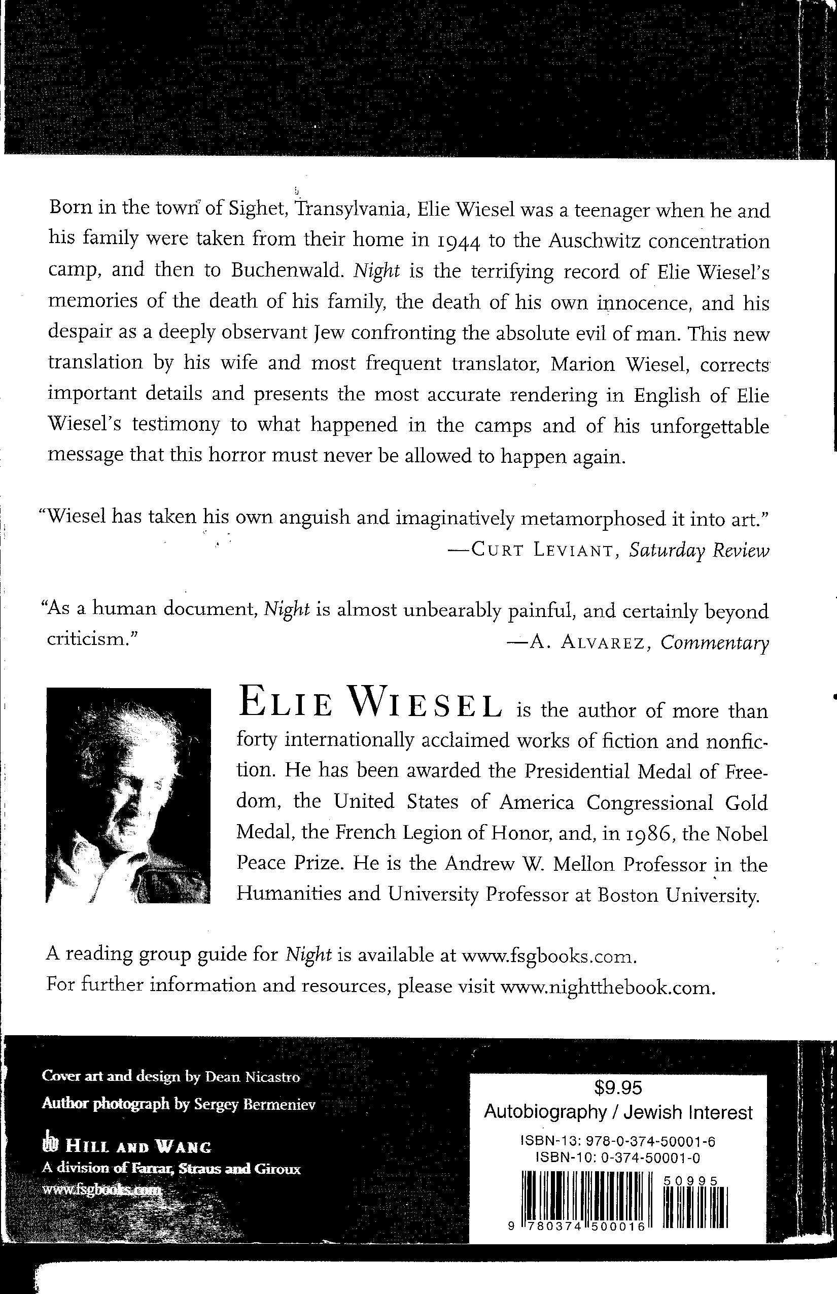 a comparison of a mans search for meaning and the novel night by elie wiesel Workbook questions and critical reflection exercises night by elie wiesel man's search for meaning.